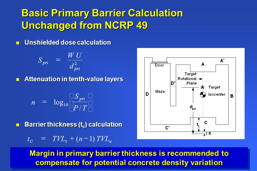 Basic Primary Barrier Calculation Unchanged from NCRP 49