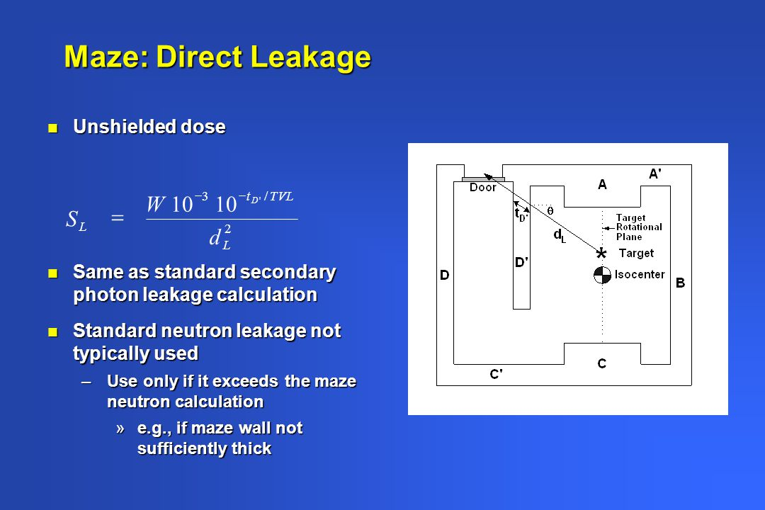 Maze: Direct Leakage 10 d W S = Unshielded dose