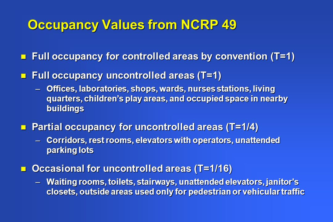 Occupancy Values from NCRP 49