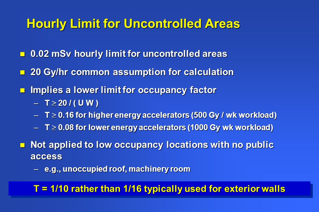 Hourly Limit for Uncontrolled Areas