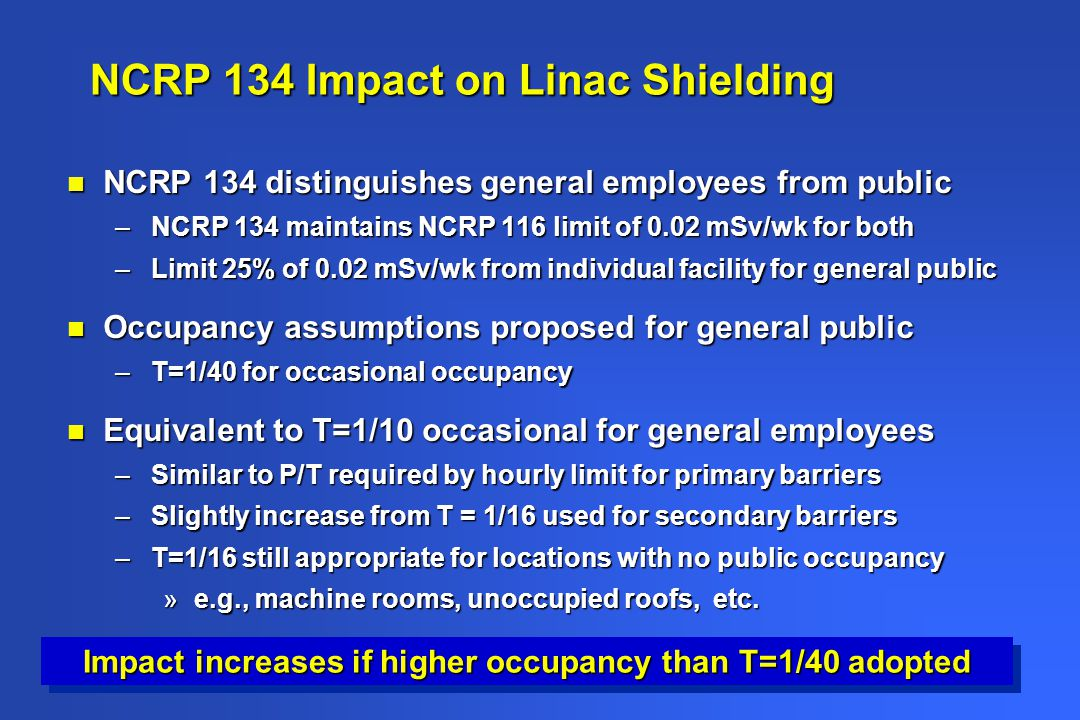 NCRP 134 Impact on Linac Shielding