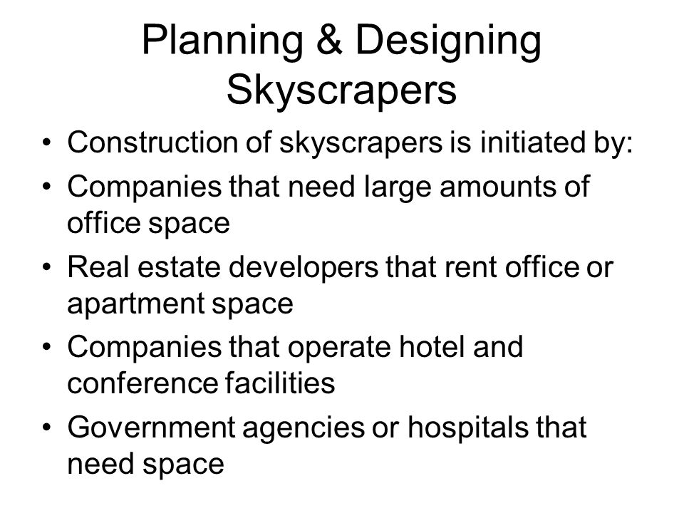 Planning & Designing Skyscrapers