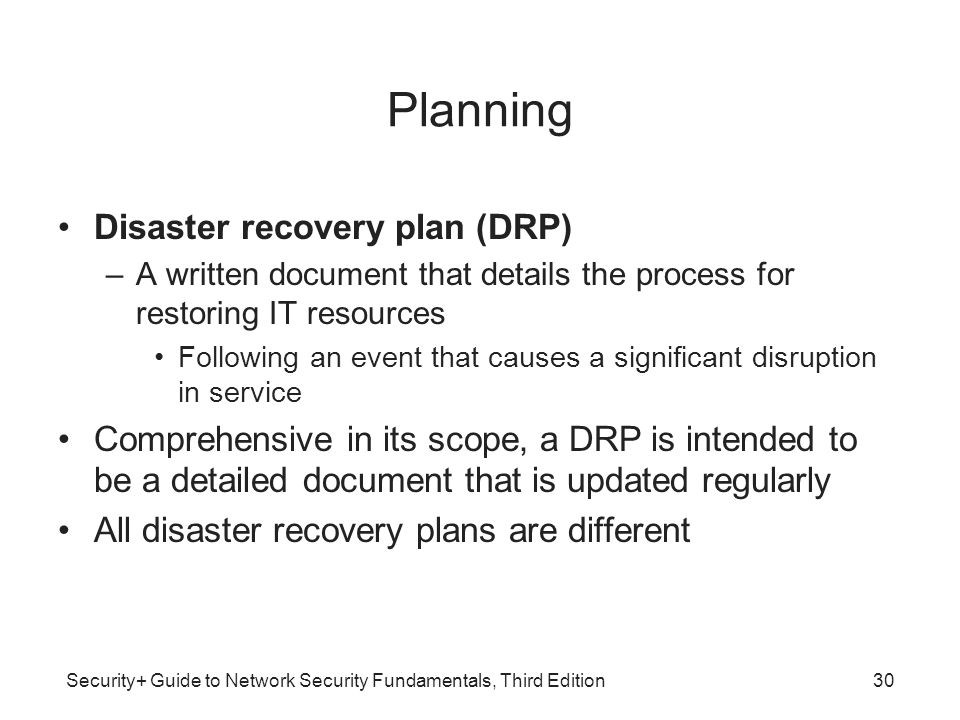 Planning Disaster recovery plan (DRP)