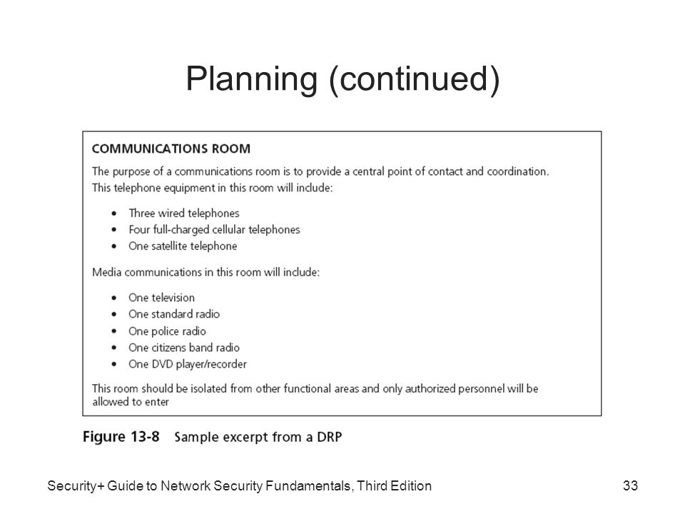 Planning (continued) Security+ Guide to Network Security Fundamentals, Third Edition