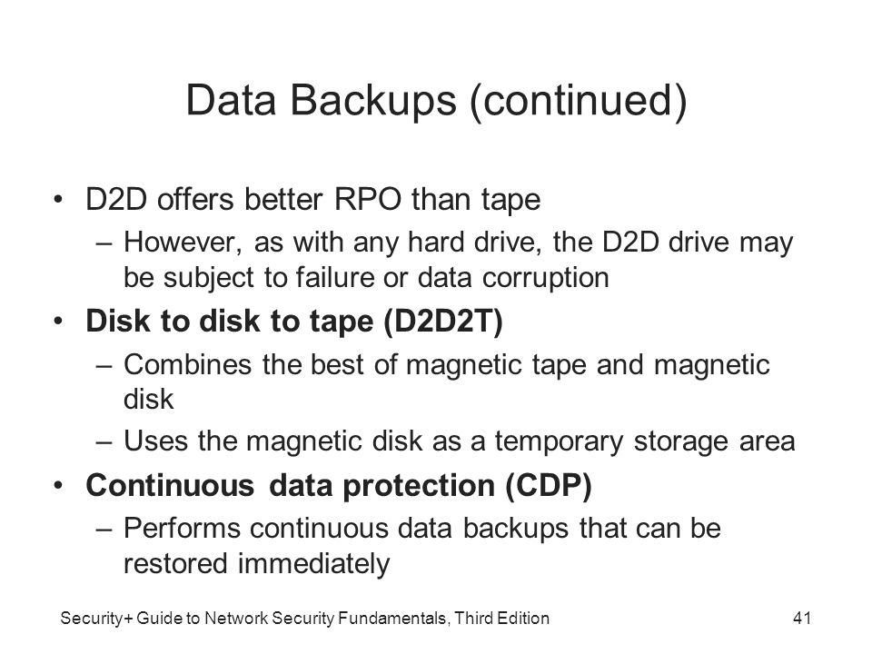 Data Backups (continued)