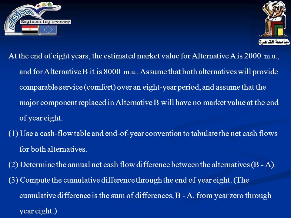 At the end of eight years, the estimated market value for Alternative A is 2000 m.u., and for Alternative B it is 8000 m.u.. Assume that both alternatives will provide comparable service (comfort) over an eight-year period, and assume that the major component replaced in Alternative B will have no market value at the end of year eight.