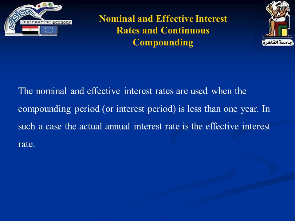 Nominal and Effective Interest Rates and Continuous Compounding