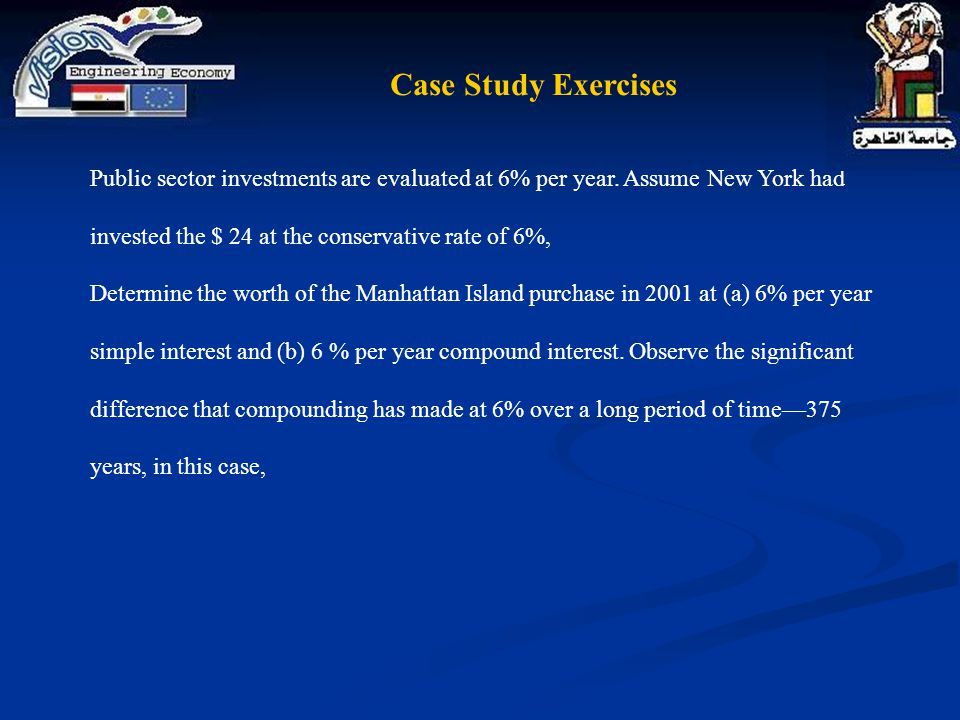 Case Study Exercises Public sector investments are evaluated at 6% per year. Assume New York had invested the $ 24 at the conservative rate of 6%,