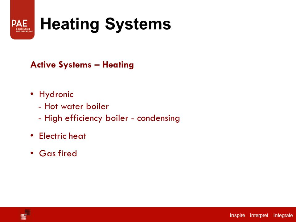 Heating Systems Active Systems – Heating Hydronic - Hot water boiler