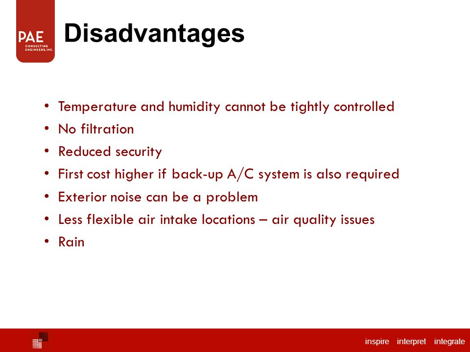 Disadvantages Temperature and humidity cannot be tightly controlled
