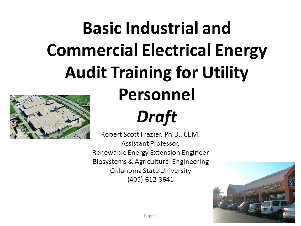 Basic Industrial and Commercial Electrical Energy Audit Training for Utility Personnel