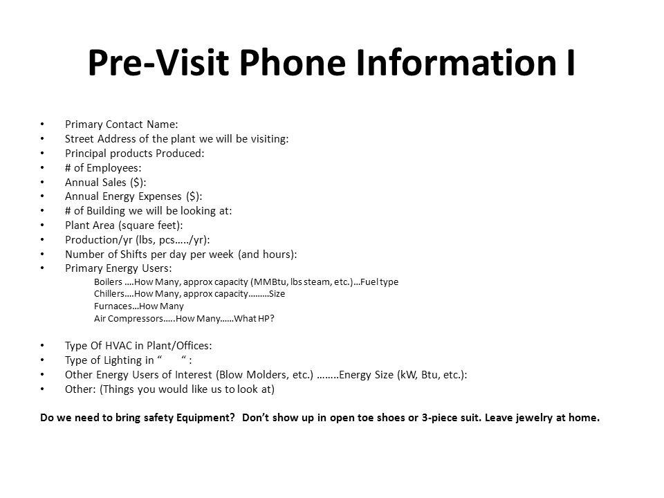 Pre-Visit Phone Information I