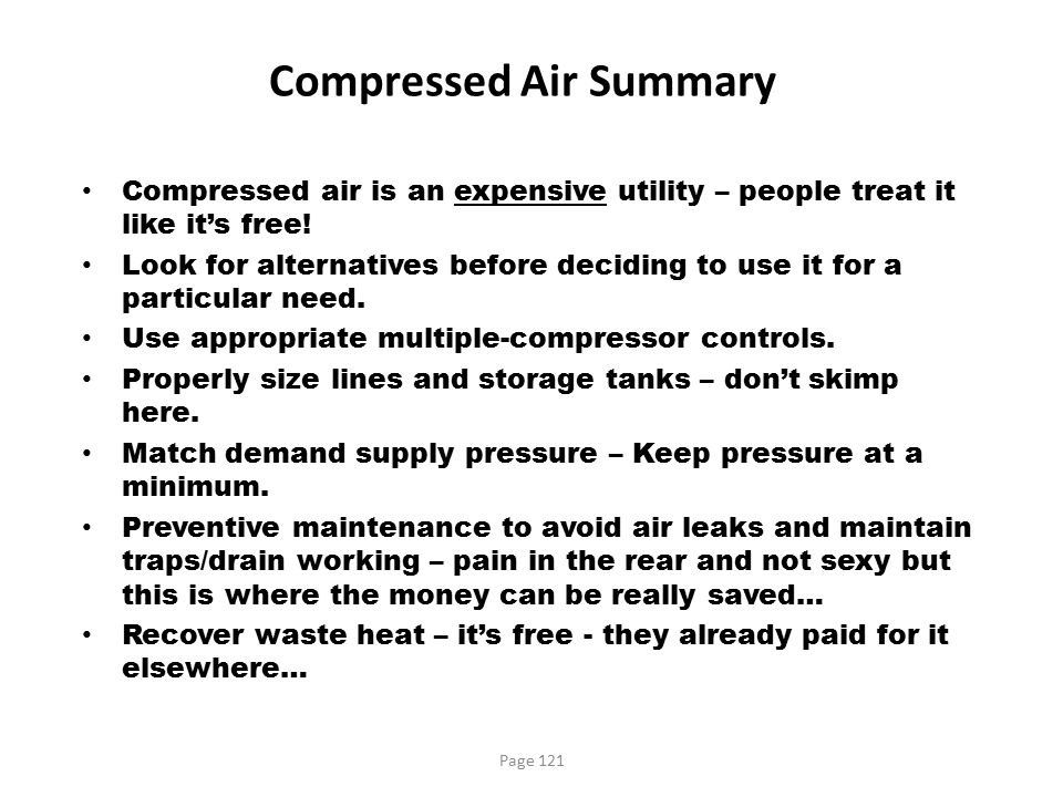 Compressed Air Summary