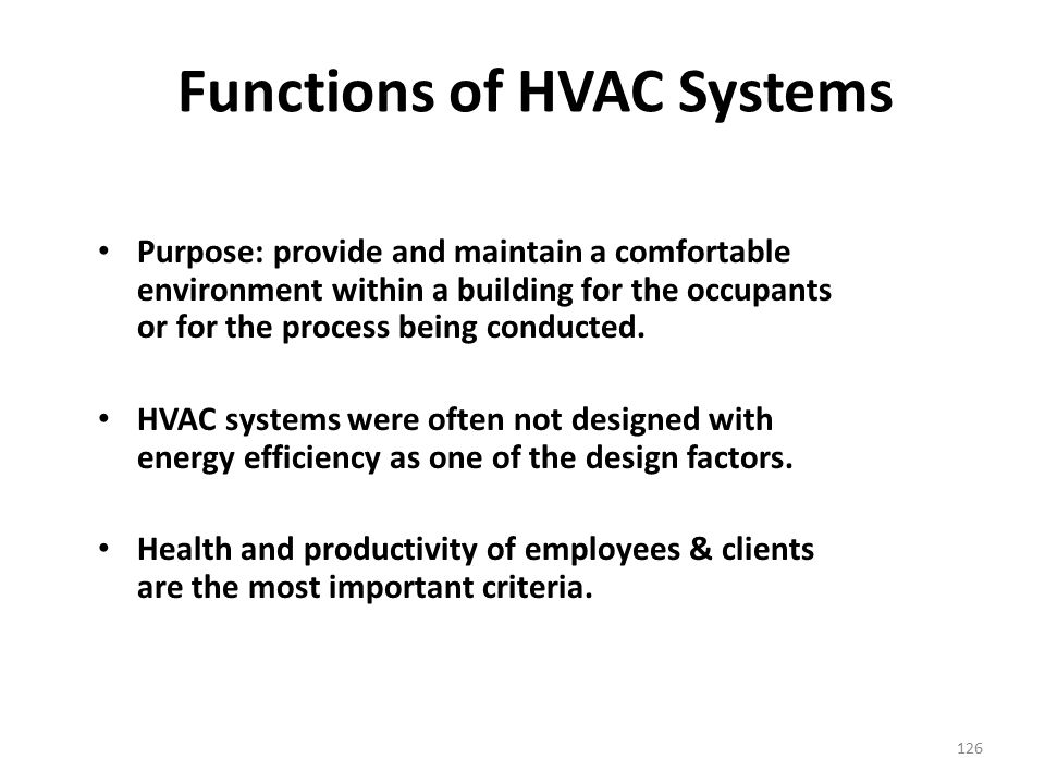 Functions of HVAC Systems