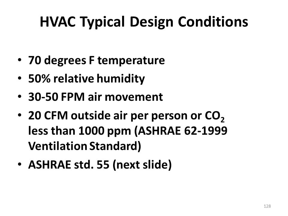 HVAC Typical Design Conditions