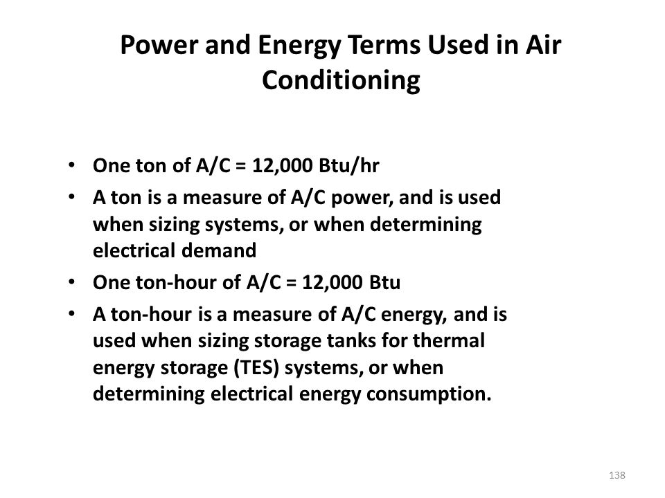 Power and Energy Terms Used in Air Conditioning