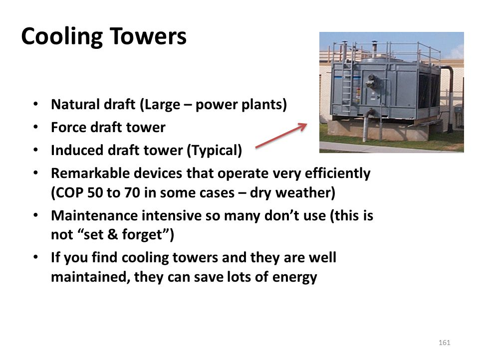 Cooling Towers Natural draft (Large – power plants) Force draft tower
