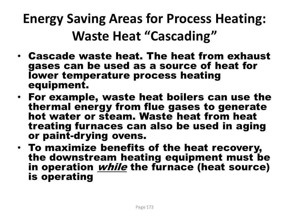 Energy Saving Areas for Process Heating: Waste Heat Cascading