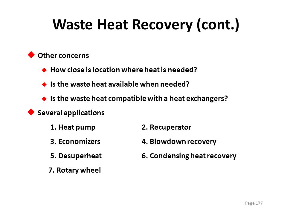Waste Heat Recovery (cont.)