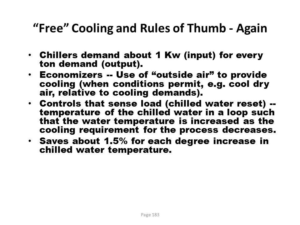 Free Cooling and Rules of Thumb - Again