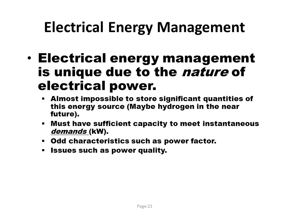 Electrical Energy Management