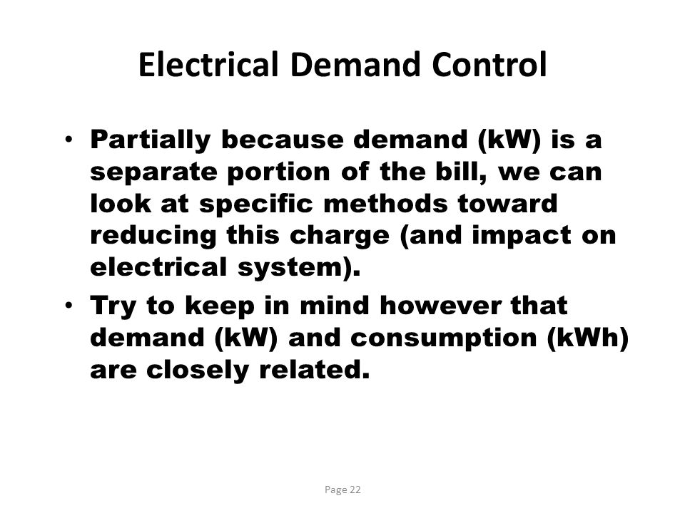 Electrical Demand Control