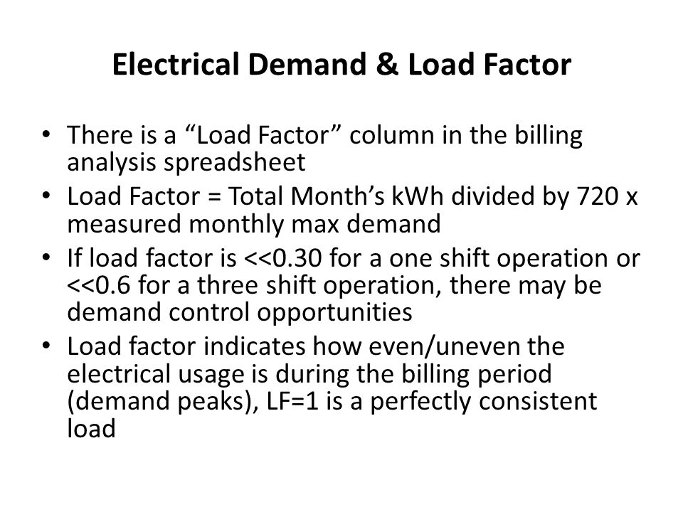 Electrical Demand & Load Factor