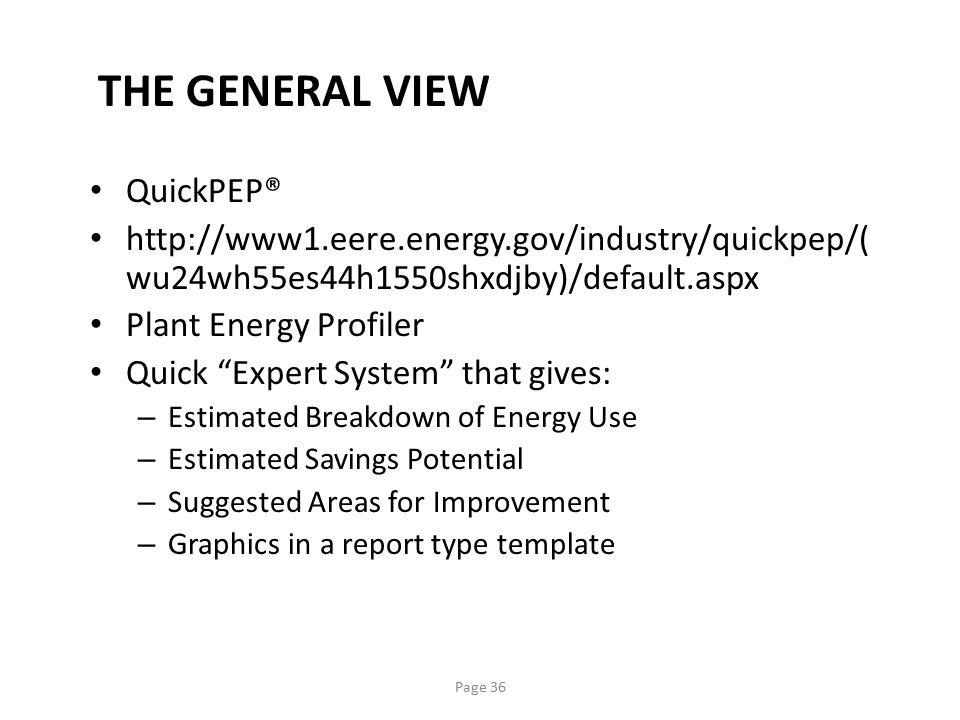 THE GENERAL VIEW QuickPEP®