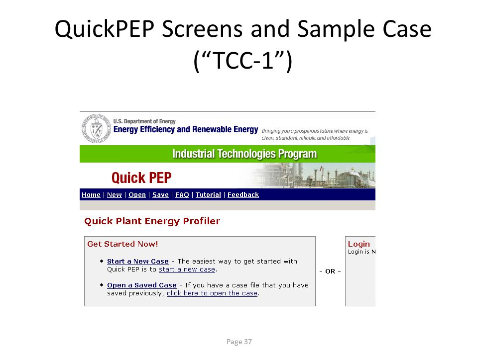 QuickPEP Screens and Sample Case ( TCC-1 )