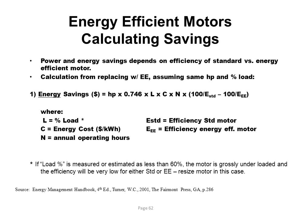 Energy Efficient Motors Calculating Savings