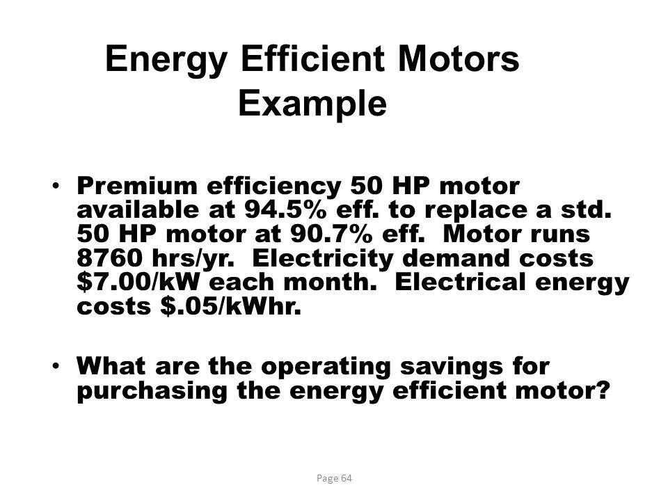 Energy Efficient Motors Example