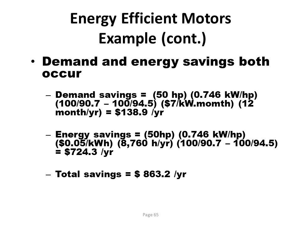 Energy Efficient Motors Example (cont.)