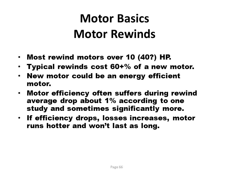 Motor Basics Motor Rewinds