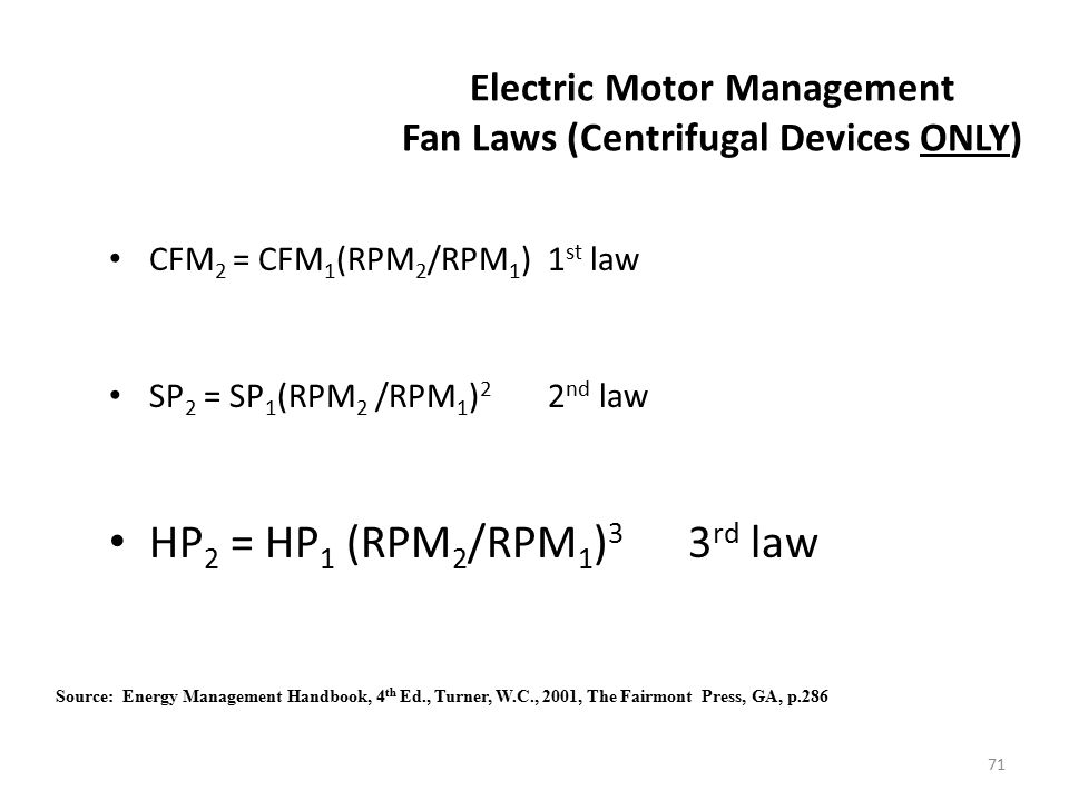 Electric Motor Management Fan Laws (Centrifugal Devices ONLY)