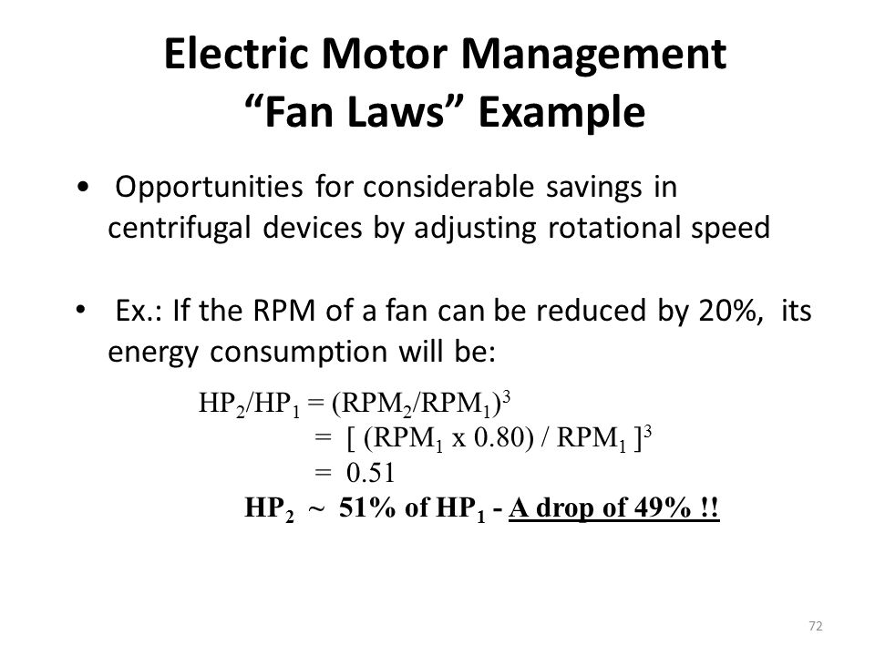 Electric Motor Management Fan Laws Example