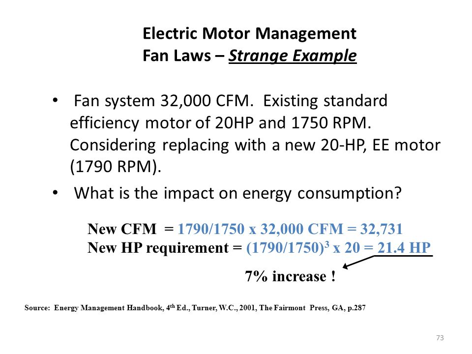 Electric Motor Management Fan Laws – Strange Example
