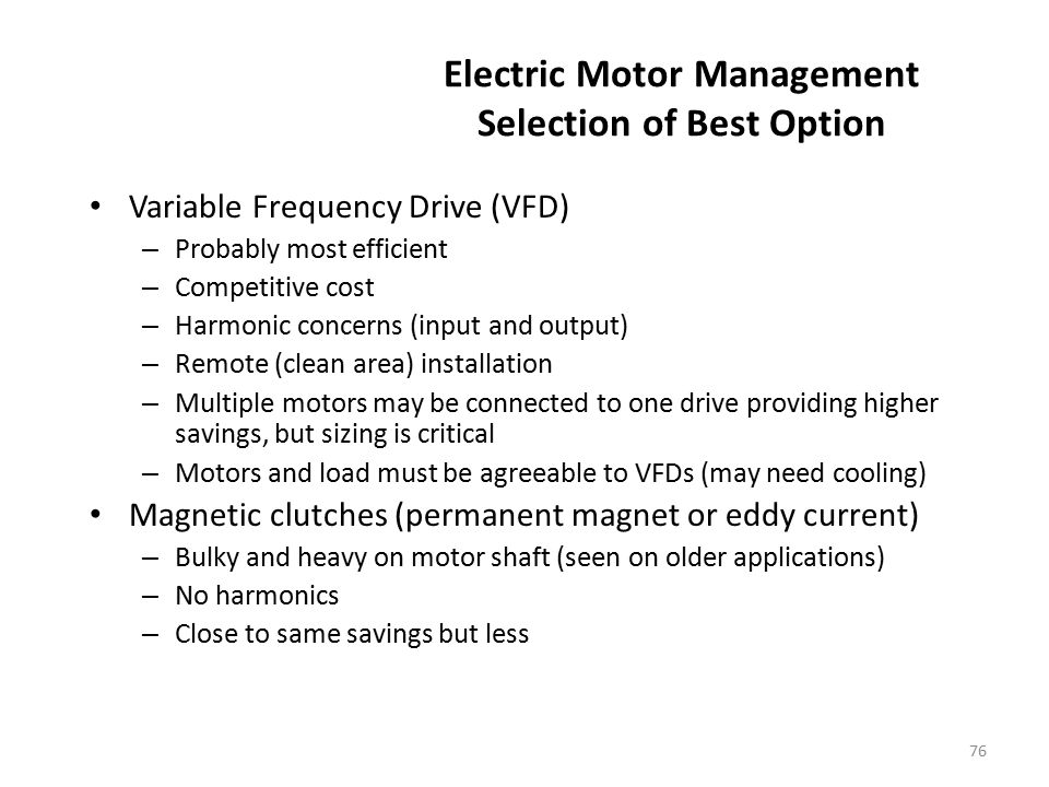 Electric Motor Management Selection of Best Option