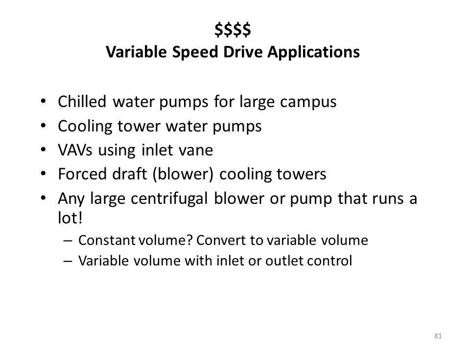 $$$$ Variable Speed Drive Applications