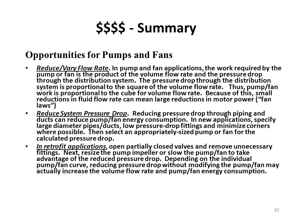 $$$$ - Summary Opportunities for Pumps and Fans