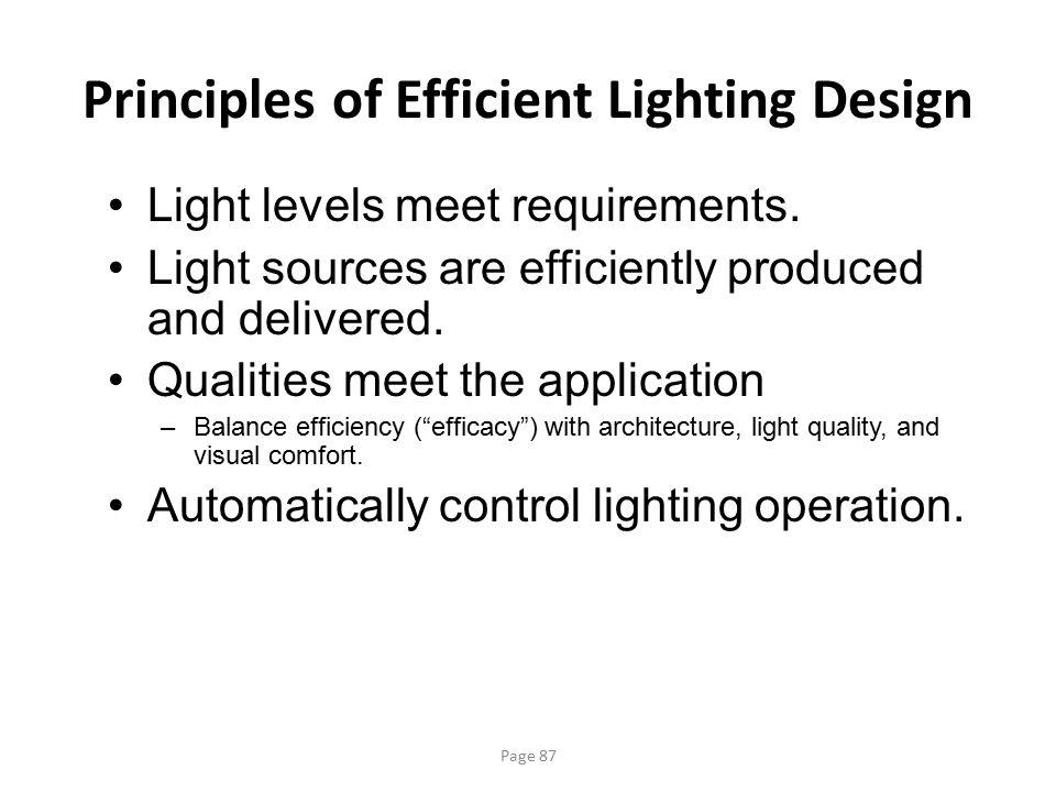 Principles of Efficient Lighting Design