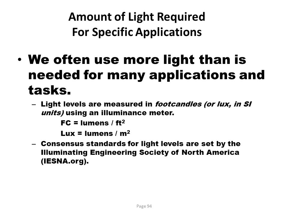 Amount of Light Required For Specific Applications