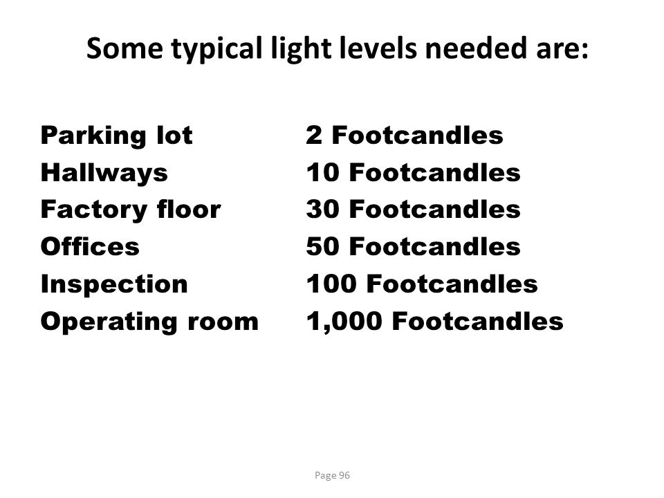 Some typical light levels needed are: