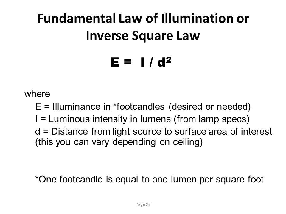 Fundamental Law of Illumination or Inverse Square Law
