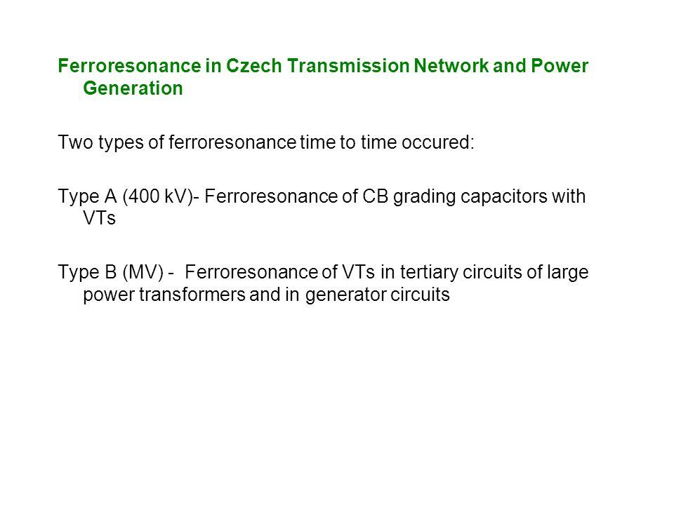 Ferroresonance in Czech Transmission Network and Power Generation