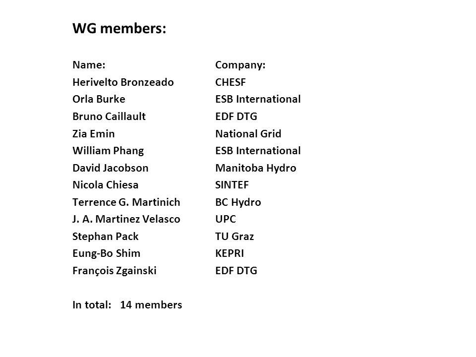 WG members: Name: Company: Herivelto Bronzeado CHESF