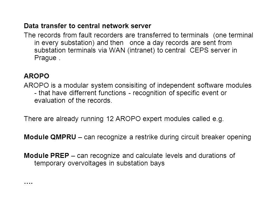 Data transfer to central network server
