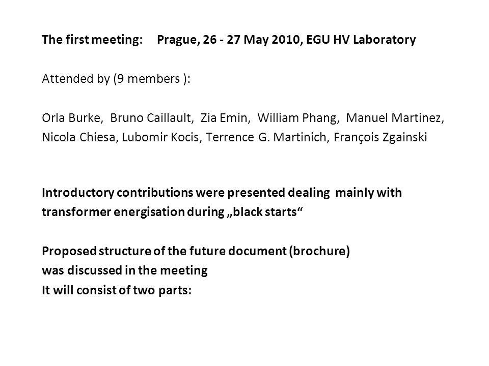 The first meeting: Prague, 26 - 27 May 2010, EGU HV Laboratory