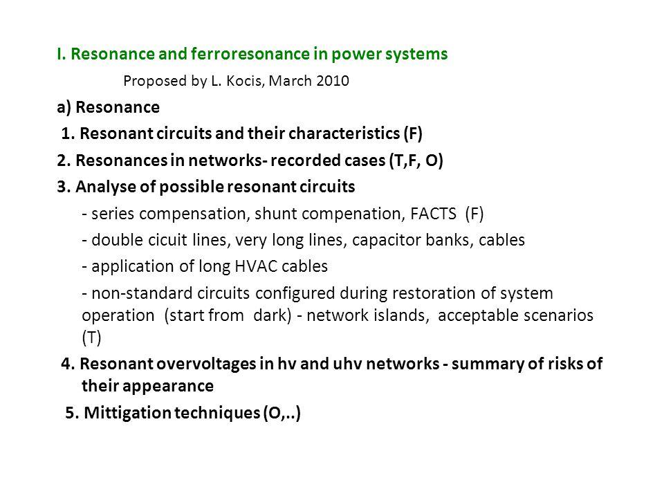 I. Resonance and ferroresonance in power systems