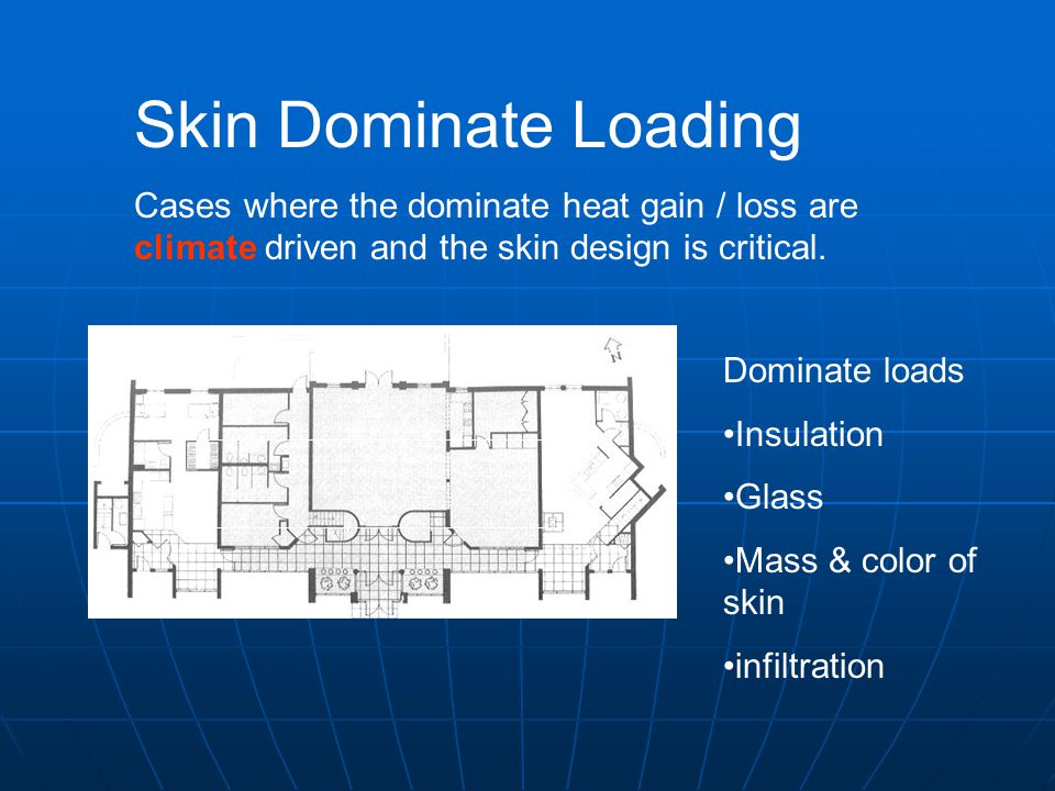 Skin Dominate Loading Cases where the dominate heat gain / loss are climate driven and the skin design is critical.