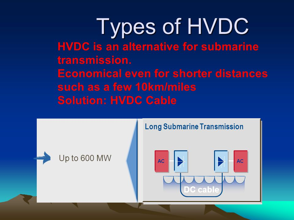 Types of HVDC HVDC is an alternative for submarine transmission.
